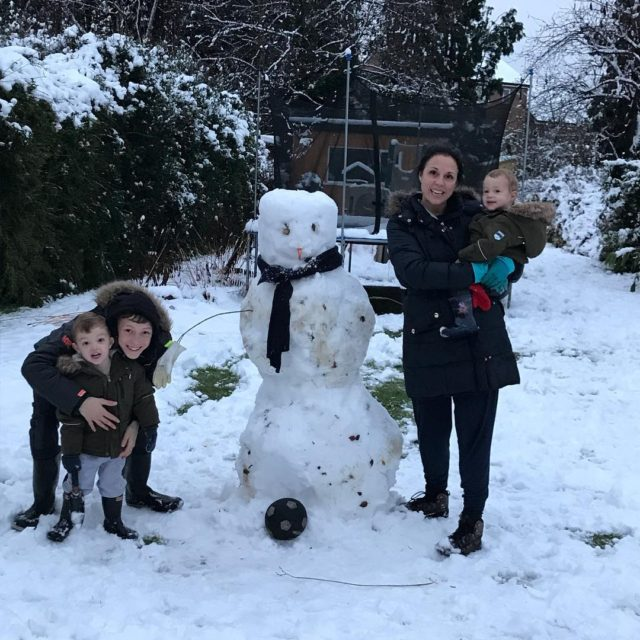 Our snowman had to be a footballerobvs!  letitsnow bluehousehellip